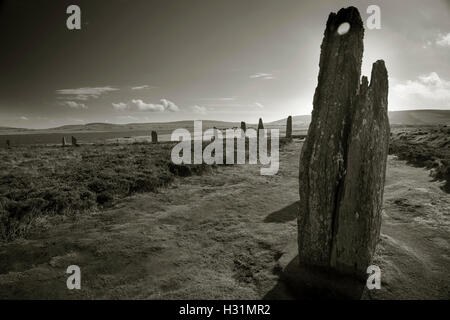 The Ring of Brodgar Neolithic stone circle and henge at Stenness, Orkney, Scotland, UK - Stock Photo