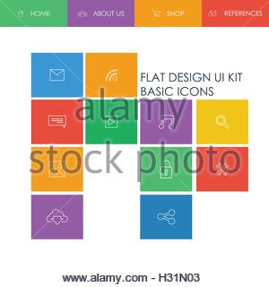 Simple basic website template with icons for navigation in modern simple basic website template with icons for navigation in modern cool flat design on gradient mesh ccuart Gallery
