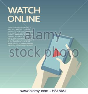 Video streaming on smartphone. Watch online videos poster suitable for infographics, presentation or advertising. - Stock Photo
