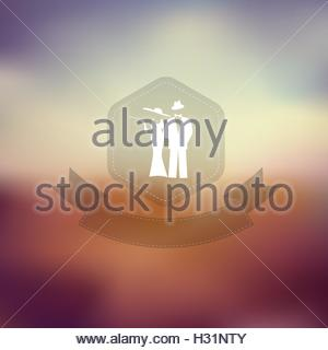 Elegant man and woman silhouette. Retro vintage party poster template. Blurred background hexagon badge with ribbons. - Stock Photo