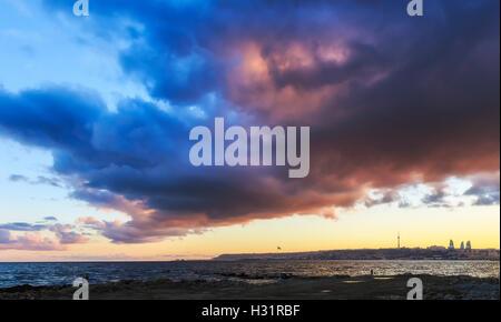 Baku at sunset - Stock Photo