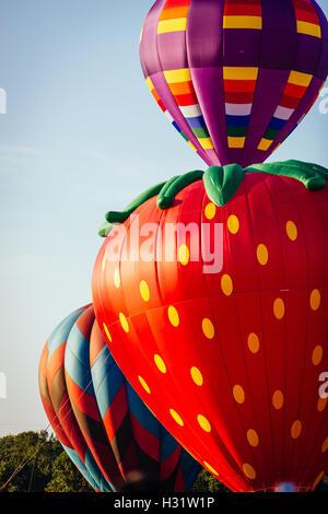 Three colorful hot air balloons lifting off - Stock Photo