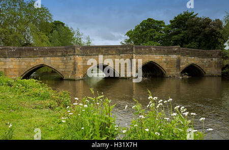 Historic stone bridge & Wye River with wildflowers, white daisies, emerald grasses on riverbank, blue sky at Bakewell, - Stock Photo