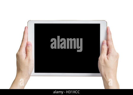 Close up hand woman holding tablet on isolated white with clipping path. - Stock Photo