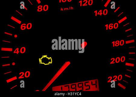 Check Engine Light Car Dashboard In Closeup Stock Photo 142976180