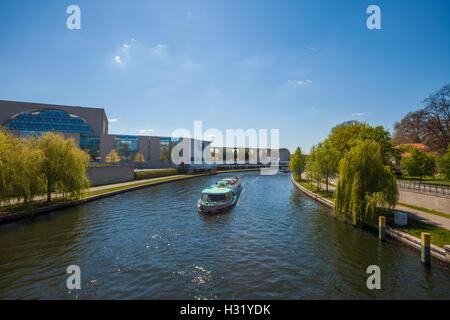 Berlin's River Spree near the Bundeskanzleramt (Chancellery) - Stock Photo