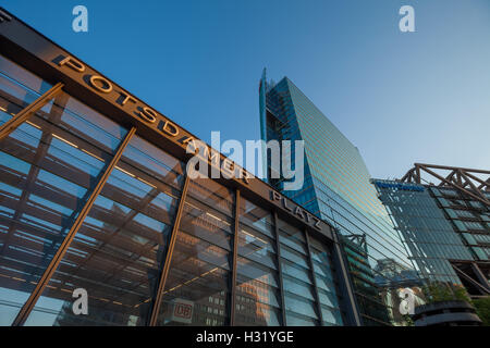 BERLIN - May 10: Station building and skyscrapers at Potsdamer Platz on May 10, 2016 in Berlin. - Stock Photo