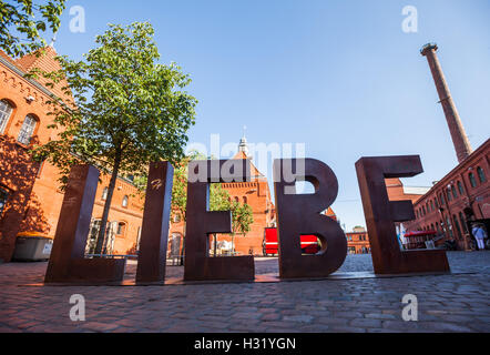 BERLIN - June 6: LIEBE ('Love') sign at the Kulturbrauerei on June 6, 2016 in Berlin. - Stock Photo