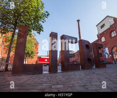 BERLIN - June 6: LIEBE ('Love') sign at the Kulturbrauerei on June 6, 2016 in Berlin. - Stock Photo