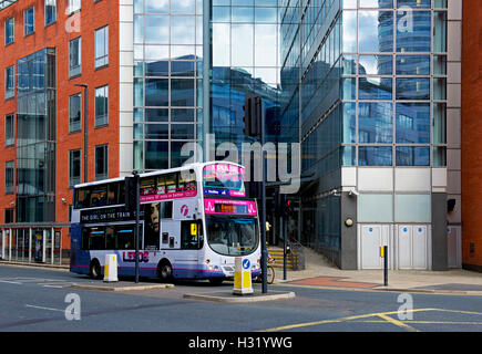 Double-decker bus on Neville Street, city centre, Leeds, West Yorkshire - Stock Photo