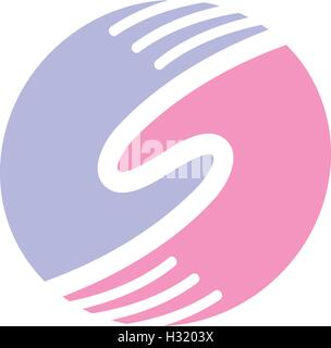 Isolated abstract round shape blue and pink color human hands together logo. Man and woman palms logotype. Eternal - Stock Photo