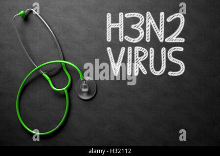 Chalkboard with H3N2. 3D Illustration. - Stock Photo