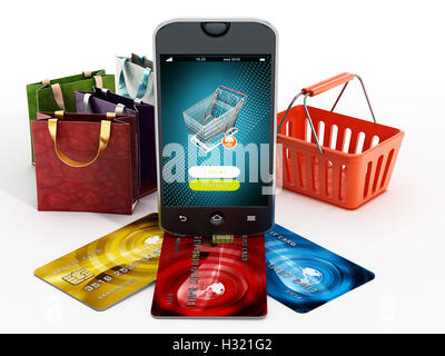 Smartphone, credit cards, shopping bags and basket isolated on white background. 3D illustration. - Stock Photo