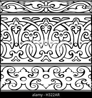 Set of decorative borders vintage style - Stock Photo