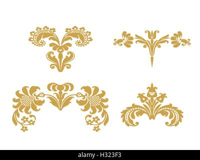 Vector set floral design elements with gold flowers and lush bloom, decorated in ethnic ornament. Isolated on white - Stock Photo