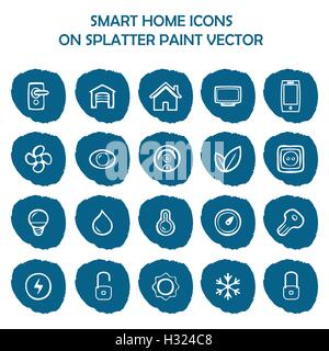 Smart home icons on blue splatter paint. Flat icons on round paint stains background. Icons, symbol, logo - Stock Photo