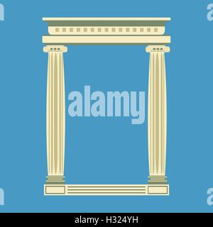 Antique marble temple front with ionic columns, - Stock Photo