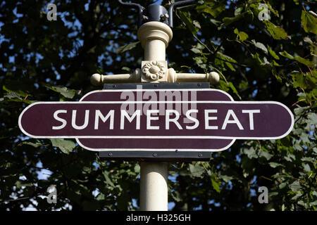 Trackside railway sign on cast iron post at summerseat, east lancashire railway in bury lancashire - Stock Photo