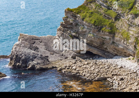 Rock formations along the Jurassic Coast World Heritage Site near Lulworth in Dorset England United Kingdom UK - Stock Photo