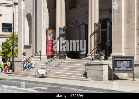 The front entrance to St. Mary of the Seven Sorrows Catholic Church in Nashville, Tennessee. - Stock Photo