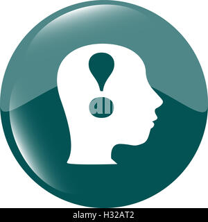 Human head with exclamation mark icon, web button - Stock Photo