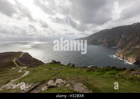 Sliabh Liag View Walk in Slieve League, County Donegal, Ireland. - Stock Photo