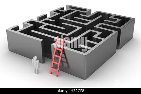 Man looking for the solution of the maze , This is a 3d rendered computer generated image. Isolated on white. - Stock Photo