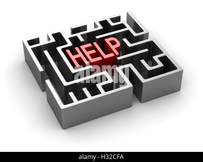 Help text in maze , This is a 3d rendered computer generated image. Isolated on white.