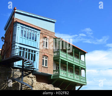 Old buildings in Tbilisi Old town Sololaki - Stock Photo