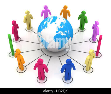 people worldwide computer connection concept 3d illustration - Stock Photo