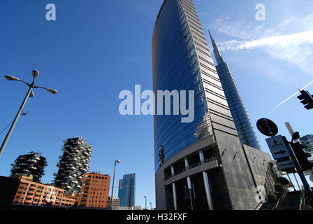 New buildings constructed in the aerea of Garibaldi Station, Porta Nuova District. Right the Unicredit Tower which - Stock Photo