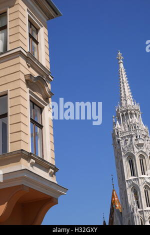 The spire of Matthias Church on Castle Hill, Budapest, Hungary - Stock Photo