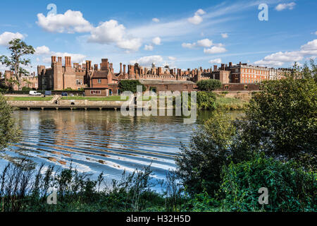 Hampton Court Palace – seen from the banks of the River Thames - Stock Photo