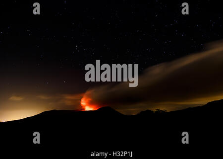 Masaya volcano view at night during an eruption. Long exposure shot. March 2016 - Stock Photo