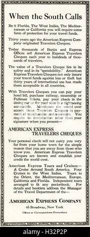 1920 advert from original old vintage American magazine 1920s advertisement advertising American Express Travelers - Stock Photo