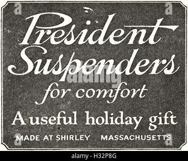 1920 advert from original old vintage American magazine 1920s advertisement advertising President Suspenders of - Stock Photo