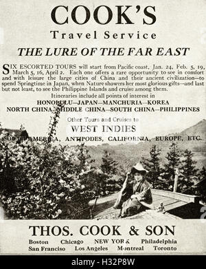 1920 advert from original old vintage American magazine 1920s advertisement advertising Thomas Cook Travel Service - Stock Photo
