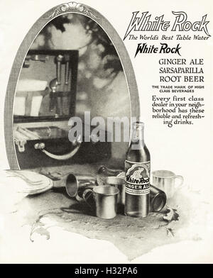 1920 advert from original old vintage American magazine 1920s advertisement advertising White Rock table water USA - Stock Photo