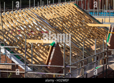 Roofers, workmen on New Build houses, with roofs nearing completion in Buckshaw Village, near Chorley, Lancashire, - Stock Photo