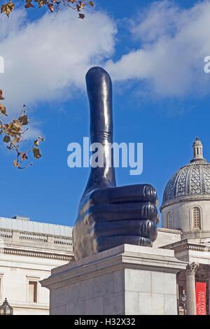 London, Trafalgar Square   David Shrigley's 'Really Good' sculpture occupying the fourth plinth - Stock Photo