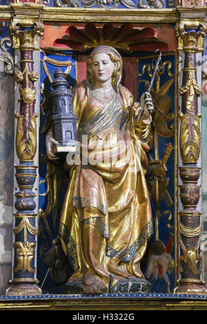 Medieval statue of Saint Barbara in the Old Cathedral of Salamanca, Spain - Stock Photo