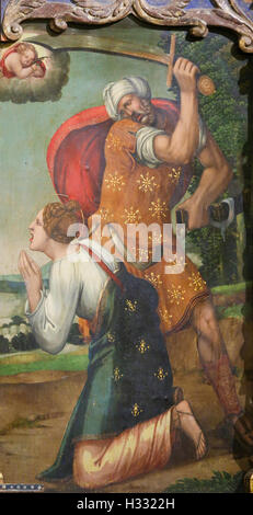 Painting of Saint Barbara beheaded by her father in the Old Cathedral of Salamanca, Spain - Stock Photo