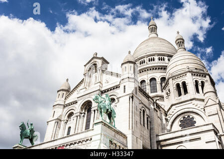 Basilica of the Sacred Heart of Jesus in Montmartre in Paris, France capital city. - Stock Photo