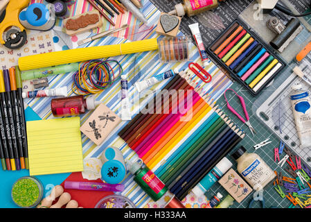 Art and Crafting Materials Pattern - Stock Photo