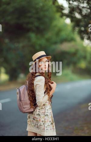 Beautiful young woman traveler portrait. - Stock Photo