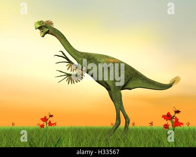 Gigantoraptor dinosaur - 3D render - Stock Photo