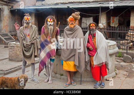 Hindu sadhu, holy man, at Pashupatinath, Kathmandu Valley, Nepal, Asia - Stock Photo