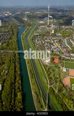 Emscher and Rhine-Herne Canal, Emscher Island, Essen, Ruhr district, North Rhine-Westphalia, Germany - Stock Photo