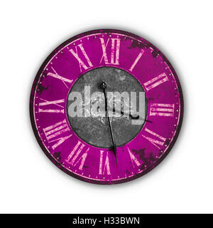 Isolated Vintage Old Bright Pink Clock on a white background - Stock Photo