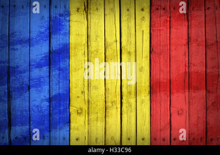 Chad flag painted on wooden boards - Stock Photo